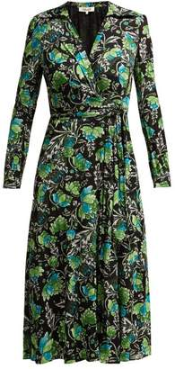 Diane von Furstenberg Phoenix Tiger Lily Print Wrap Dress - Womens - Green Print