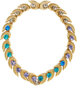 Nicole Romano 18K Gold-Plated Leaf And Colored Crystal Necklace