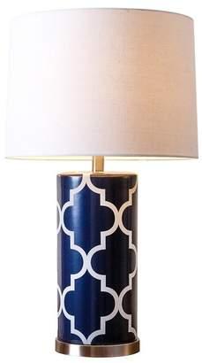 Abbyson Living Ava Navy Blue Lattice Table Lamp