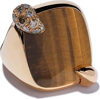 Pomellato リトラット ダイヤモンド&タイガーアイ リング 18Kローズゴールド