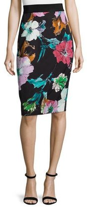Milly Paper Floral-Print Midi Skirt, Black $310 thestylecure.com
