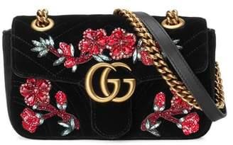 Gucci Mini GG Marmont Matelasse Velvet Shoulder Bag