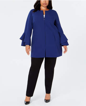 Alfani Plus Size Flared-Sleeve Collarless Jacket, Created for Macy's