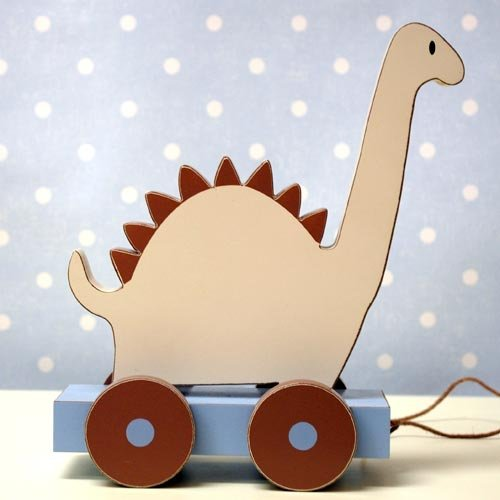 Blue and Brown Dinosaur Pull Toy