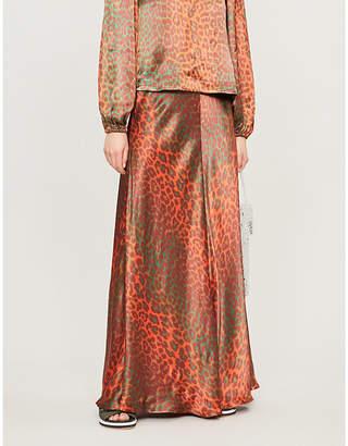 Ganni Leopard-print satin maxi skirt
