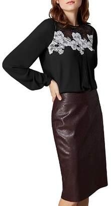 Karen Millen Lace-Inset Pintuck Top