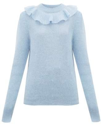 Miu Miu Ruffled Mohair Blend Sweater - Womens - Blue