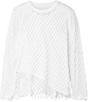 Marques Almeida Marques' Almeida Layered Fishnet And Cotton-jersey Top