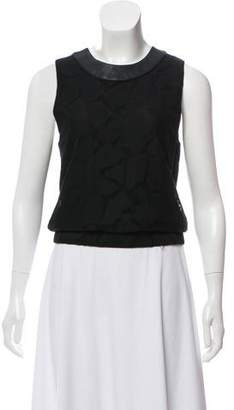 Timo Weiland Leather-Trimmed Sleeveless Top