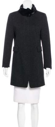 Akris Punto Fur-Trimmed Knee-Length Coat