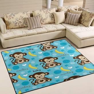 ALAZA Cartoon Monkey Banana Area Rug Rugs for Living Room Bedroom