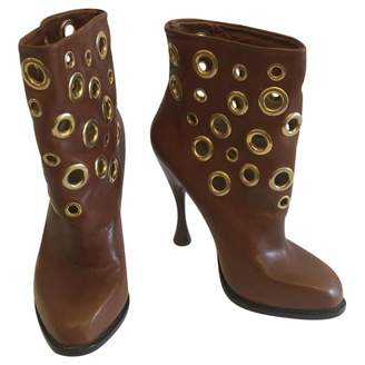 Alexander McQueen Camel Leather Ankle boots