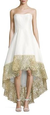 Betsy & Adam Lace-Trimmed Hi-Lo Gown $319 thestylecure.com
