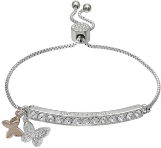 Brilliance+ Brilliance Butterfly Charm Adjustable Bar Bracelet with Swarovski Crystals