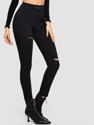 Shein Ripped High Waist Jeggings