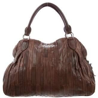 Miu Miu Multi Stripe Leather Hobo Bag Brown Multi Stripe Leather Hobo Bag