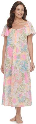 Miss Elaine Petite Essentials Printed Long Nightgown