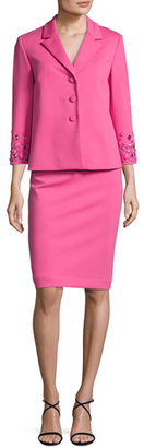 Albert Nipon Embellished 3/4-Sleeve Jacket w/ Pencil Skirt, Pink $395 thestylecure.com