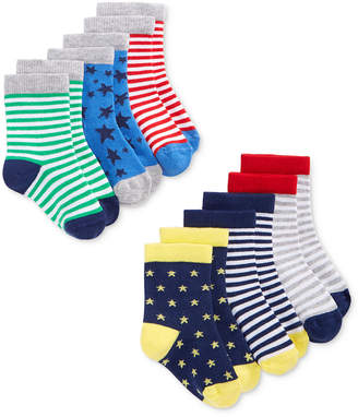First Impressions 6-Pack Stars & Stripes Crew Socks, Baby Boys, Created for Macy's