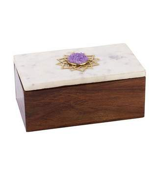 Mela Artisans Noor Jewelry Box in Marble & Medium Polish