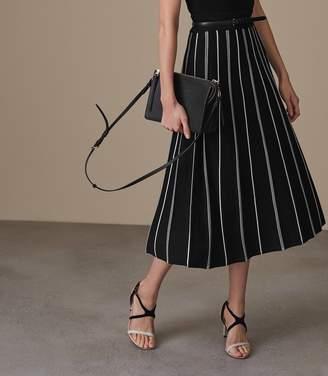 Reiss Willow - Knitted Midi Skirt in Black