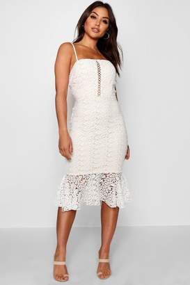boohoo Womens Flippy Hem Midi Lace Dress - White