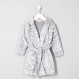 River Island Mini girls Grey leopard print dressing gown