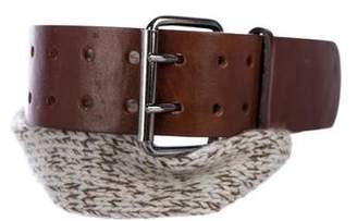 Brunello Cucinelli Cashmere & Leather Belt