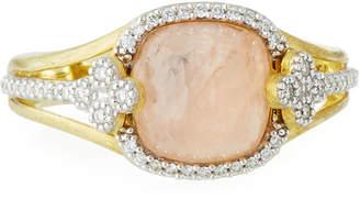 Jude Frances 18K Camelia Morganite Cushion & Diamond Ring, Size 6.5