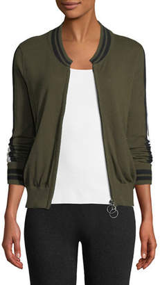 Lisa Todd Teach Peace Zip-Front Bomber Jacket