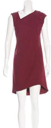 Helmut Lang Leather-Accented Knee-Length Dress