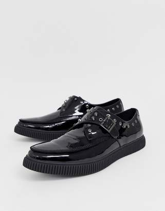 Asos Design DESIGN monk shoes in black faux leather with studding and creeper sole