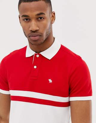 a92325a6 Abercrombie & Fitch icon logo buoy stripe polo in red/white