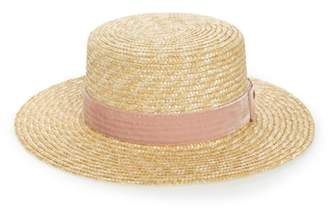 LACK OF COLOR Pink Velour Straw Hat