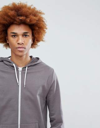 Asos DESIGN Zip Up Hoodie In Gray