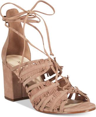 Nine West Genie Lace-Up Block-Heel Sandals $99 thestylecure.com