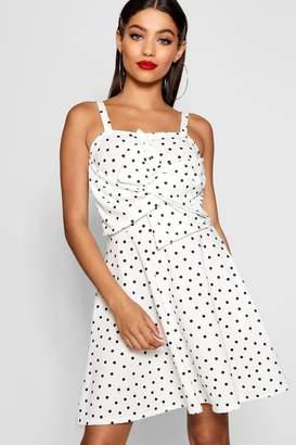 boohoo Polka Dot Bow Front Skater Dress