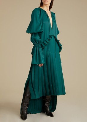 KHAITE The Cara Dress in Hunter Green