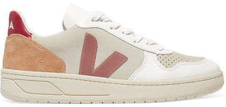 Veja + Net Sustain V-10 Mesh, Suede And Leather Sneakers - White