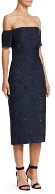 Lela Rose Sequin Embroidery Tweed Midi Dress