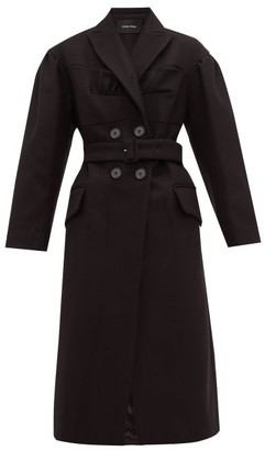 Simone Rocha Ruffled Double Breasted Wool Blend Coat - Womens - Black