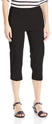 SLIM-SATION Women's Wide Band Pull On Straight Leg Capri with Tummy Control