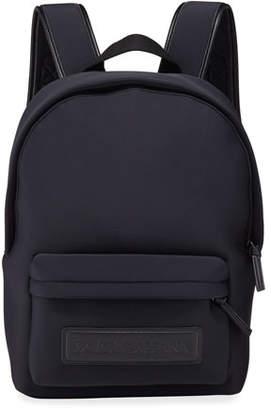 Dolce & Gabbana Kid's Neoprene Backpack w/ Leather Logo Patch