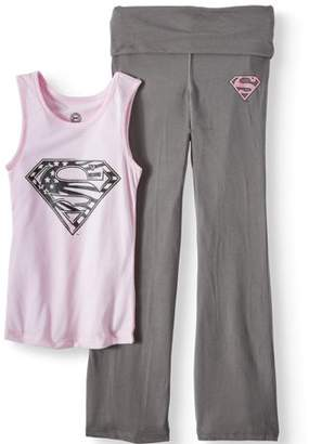DC Girl's Supergirl Shield Logo Yoga 2 Piece Pajama Tank Sleep Set (Big Girls & Little Girls)