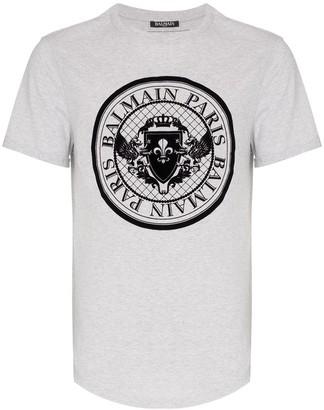 Balmain coin logo curve hem T-shirt