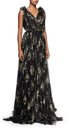 Alexander McQueen V-Neck Floral Silk Chiffon Gown, Black/Yellow $8,995 thestylecure.com