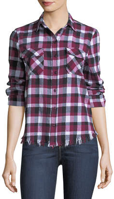 Velvet Heart Frayed-Hem Plaid Flannel Blouse