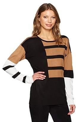 Calvin Klein Women's Long Sleeve Crewneck Mix Stripe Sweater