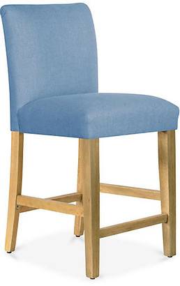 One Kings Lane Shannon Counter Stool - French Blue Linen