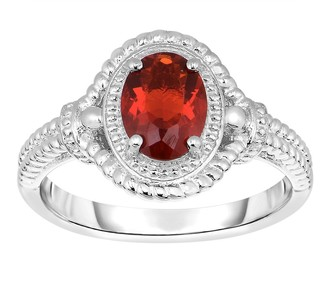 3/4 cttw Oval Red Fire Opal & Textured Ring, Sterling